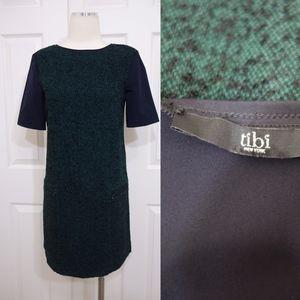 Tibi Contrast Wool Blend Short sleeve Shift Dress